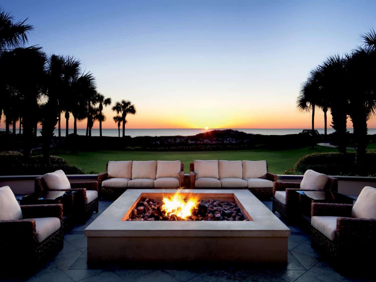 fire pit in patio