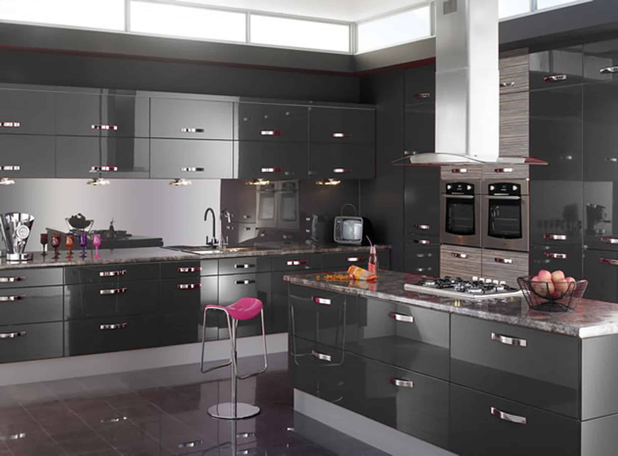 Ultra Modern Kitchen Style With Glossy Black Laminate Base Cabinet