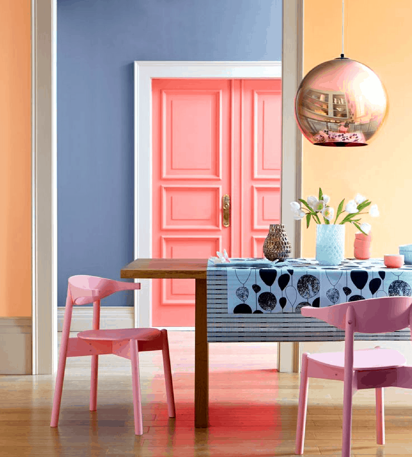 ice cream hues in dining room