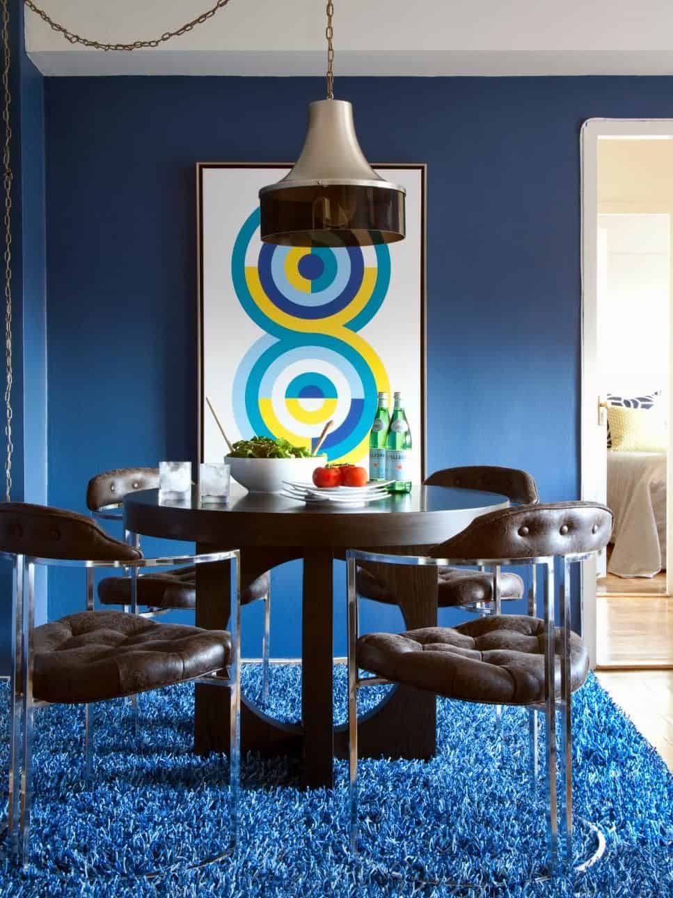 indigo blue in dining space