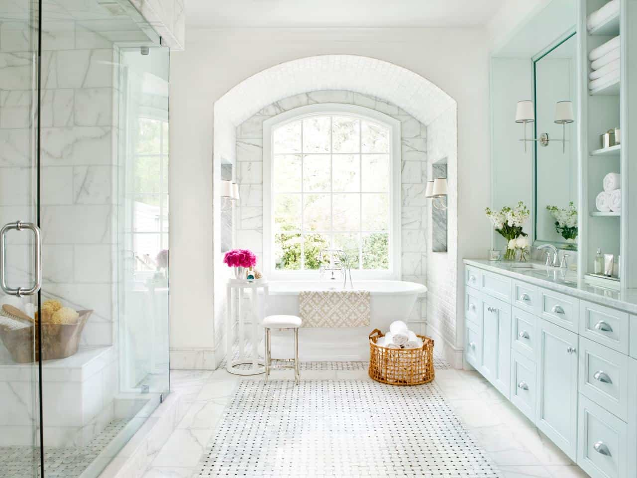 marble extravaganza bathroom White Bathroom Designs That Will Inspire Your Next Renovations