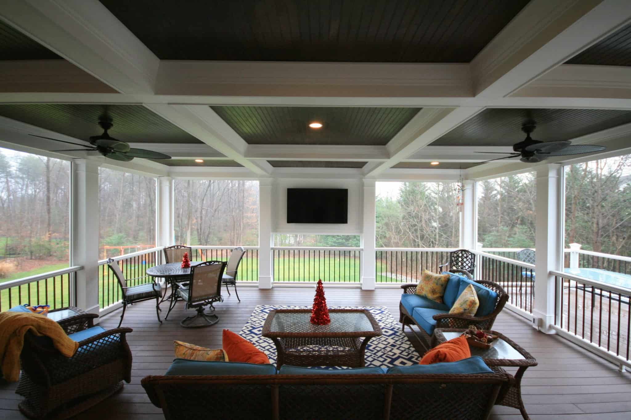 Add screening to your deck when you want to create a more enclosed space.