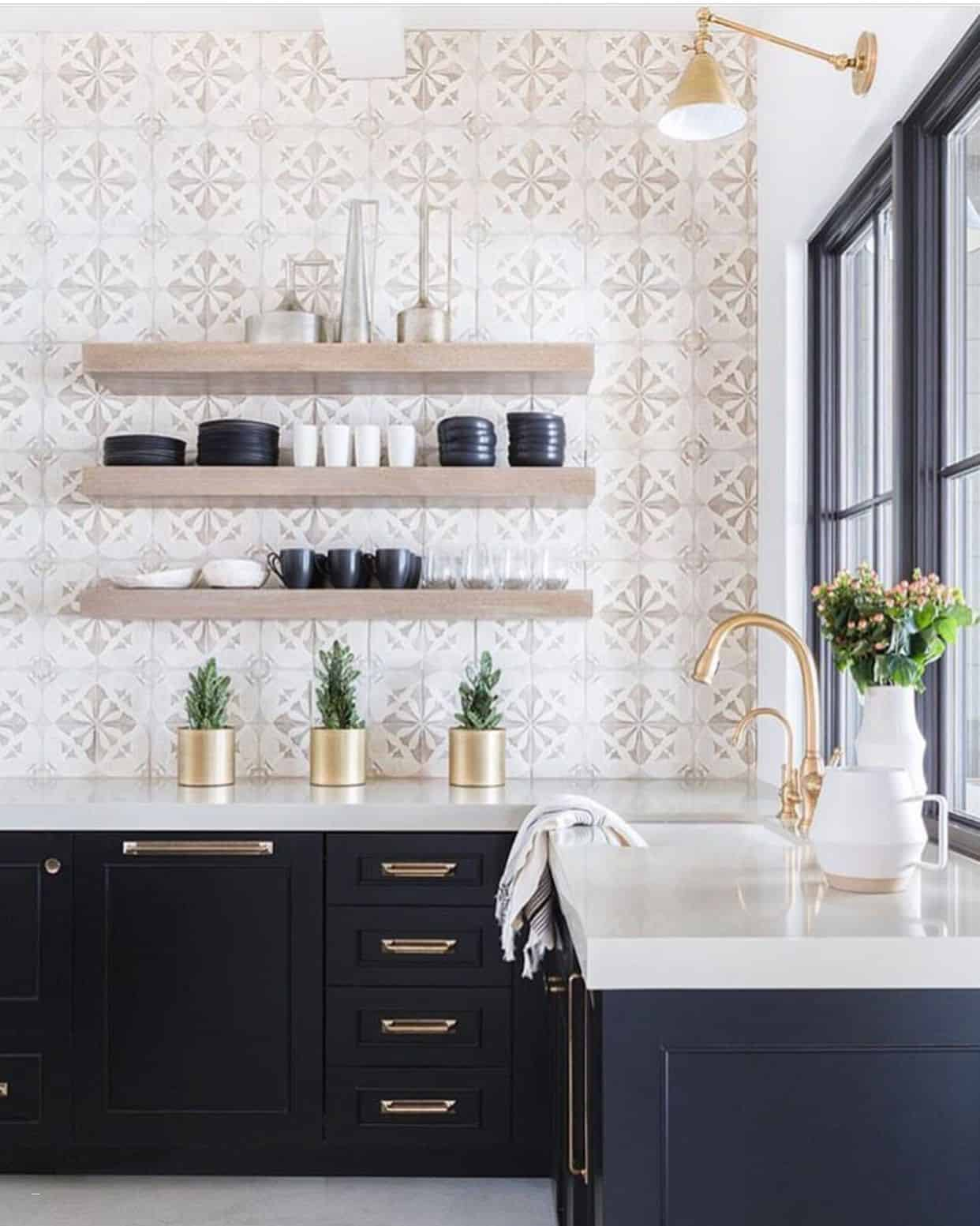 kitchen with shelves instead of cabinets – Elegant Patterned Backsplash Open Shelving Brass Details
