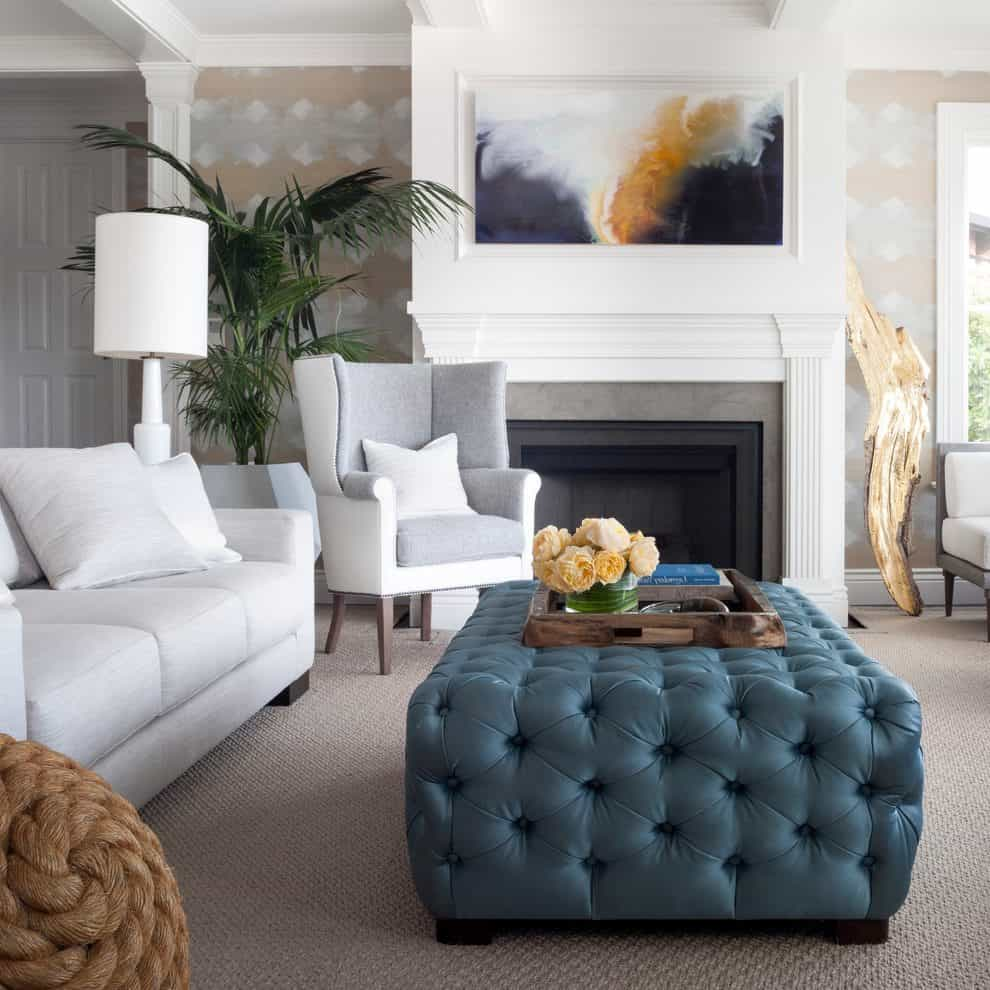 tufted ottoman in living room 10 Spring Trends To Spruce Up Your Space