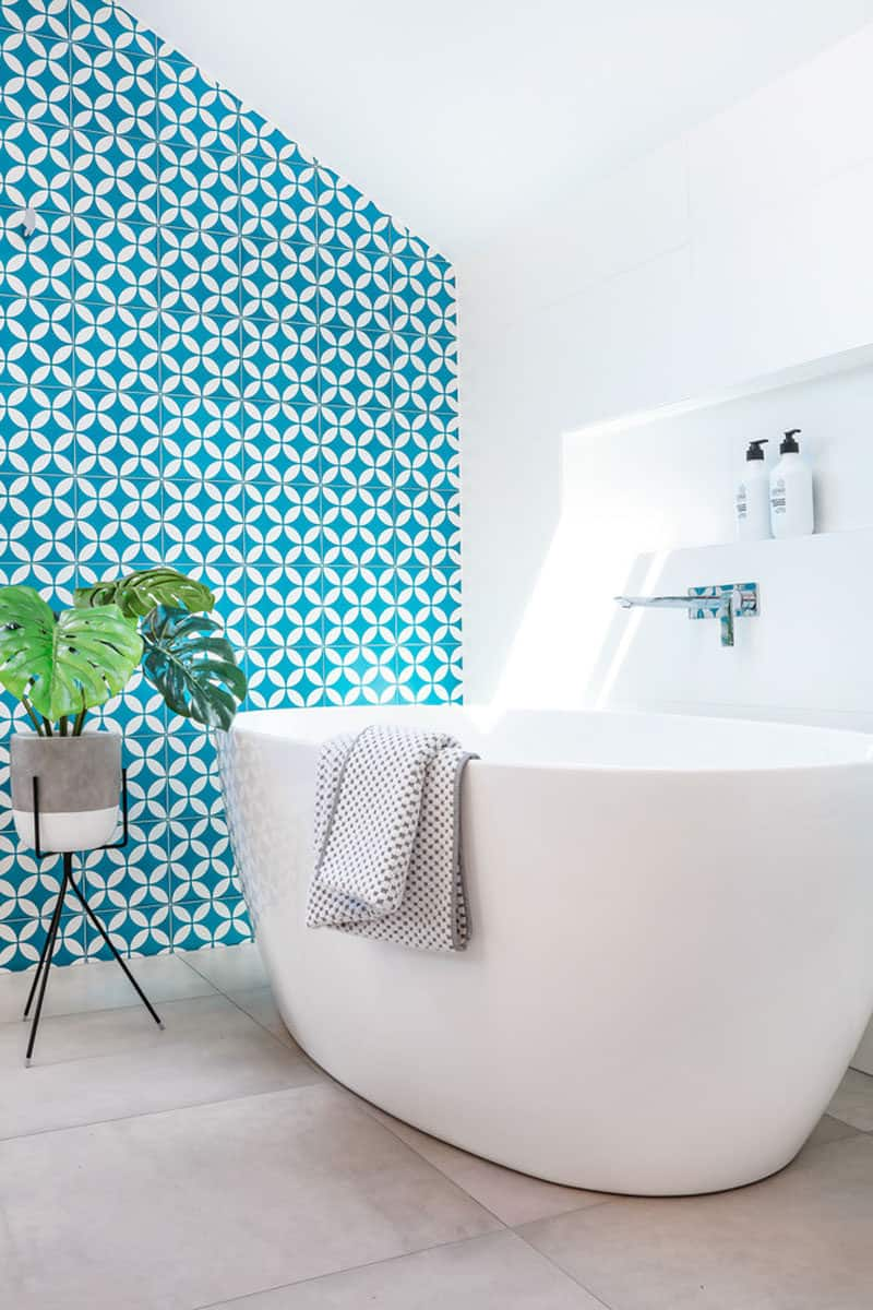 white bathroom with blue walls