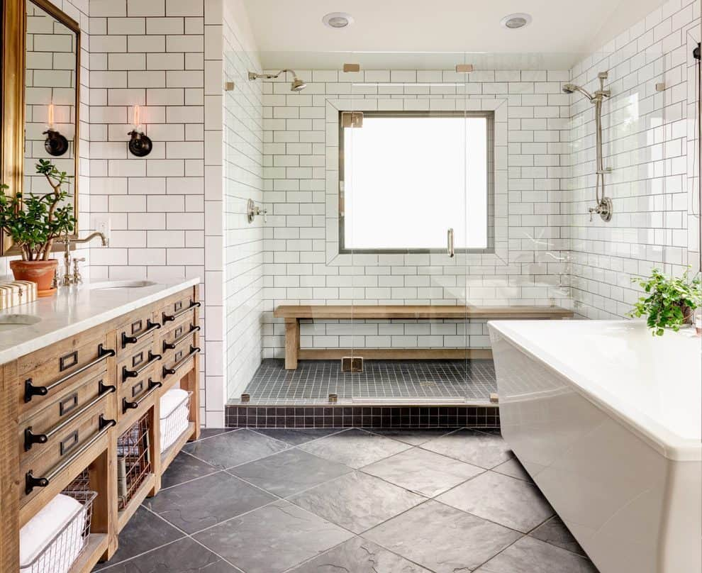 white decor with farmhouse  White Bathroom Designs That Will Inspire Your Next Renovations