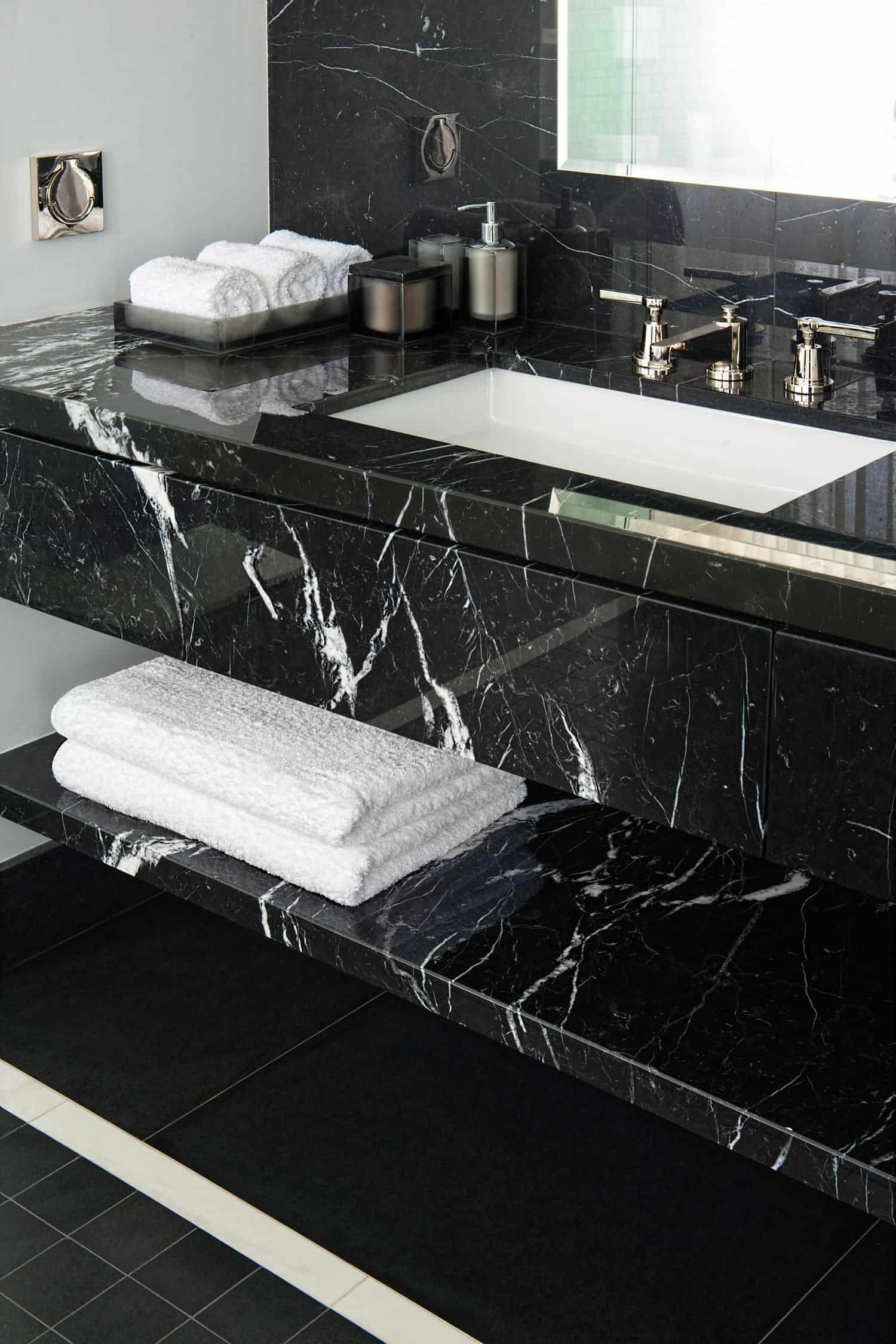 black marble with white