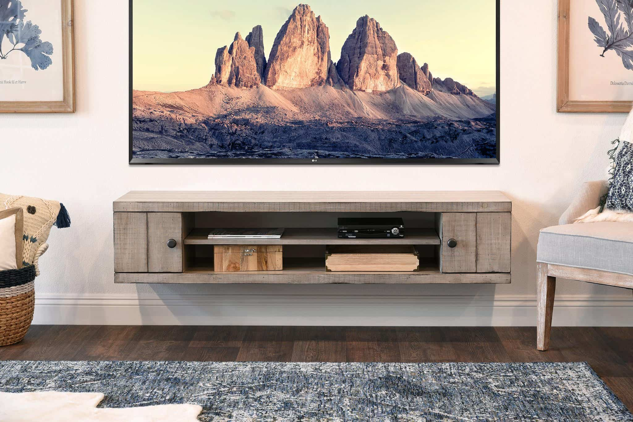 floating rustic gray tv stand
