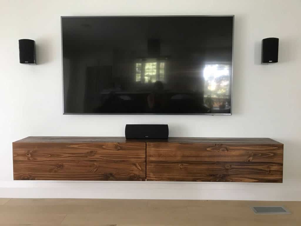 floating tv console wood