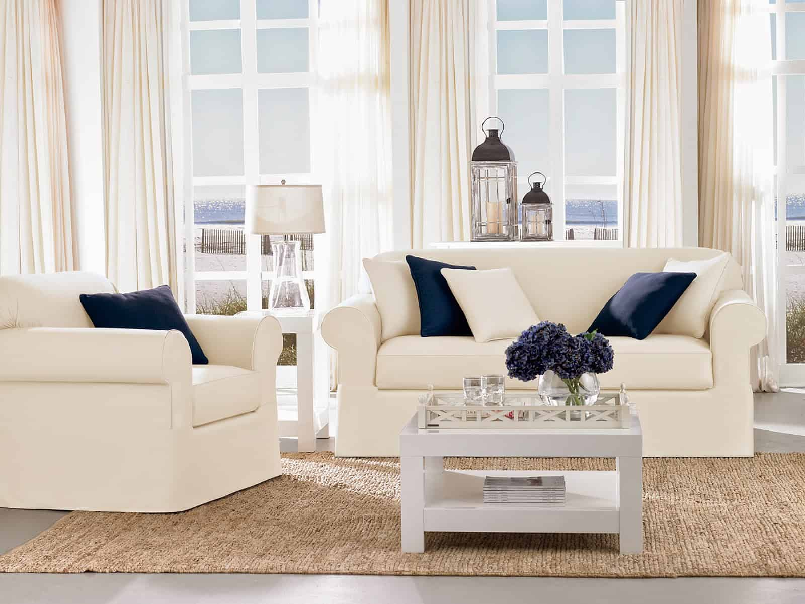 muted tones with white couches