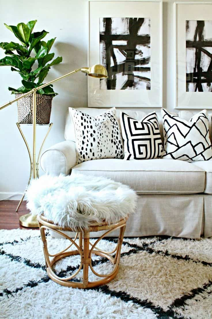 pattern pillows white couch