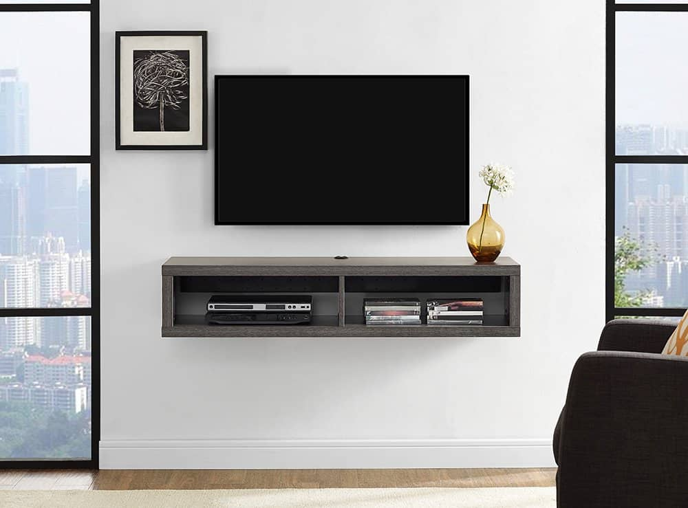 shallow floating tv stand