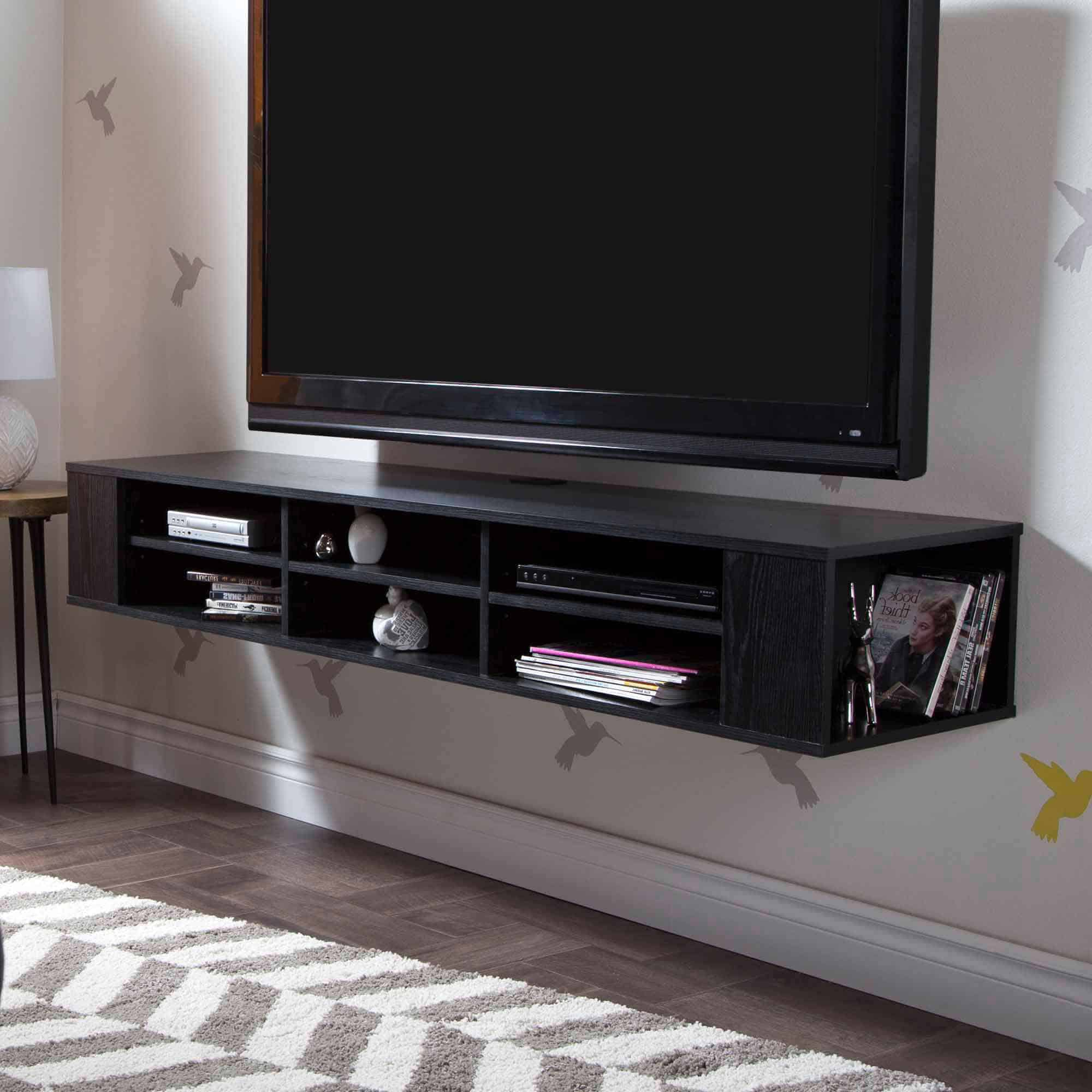 simple black floating tv stand