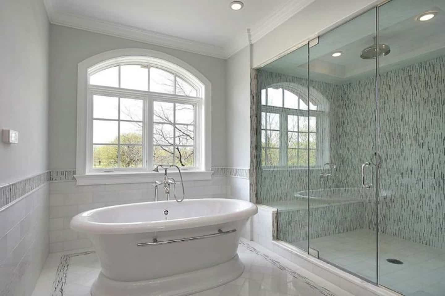 white bathroom with mosaic