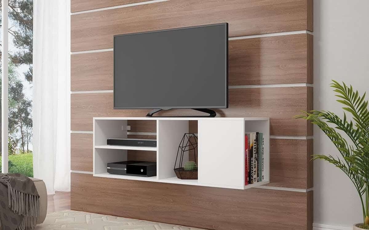 white comfort floating tv stand