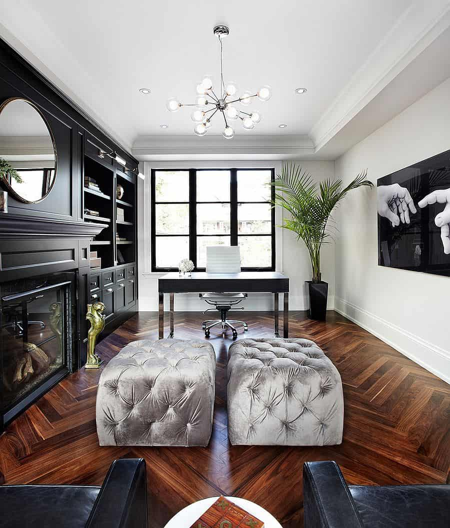 Black and white are chic, elegant hues that are also calming.