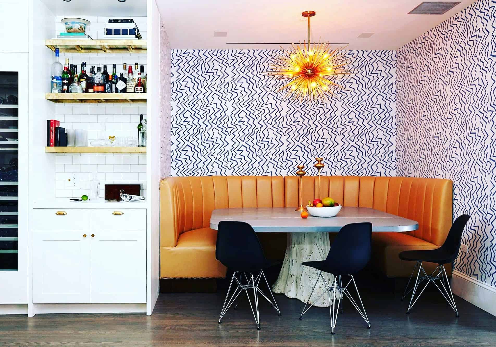 nook wallpaper Awesome This funky abstract wallpaper adds a modern touch to this breakfast