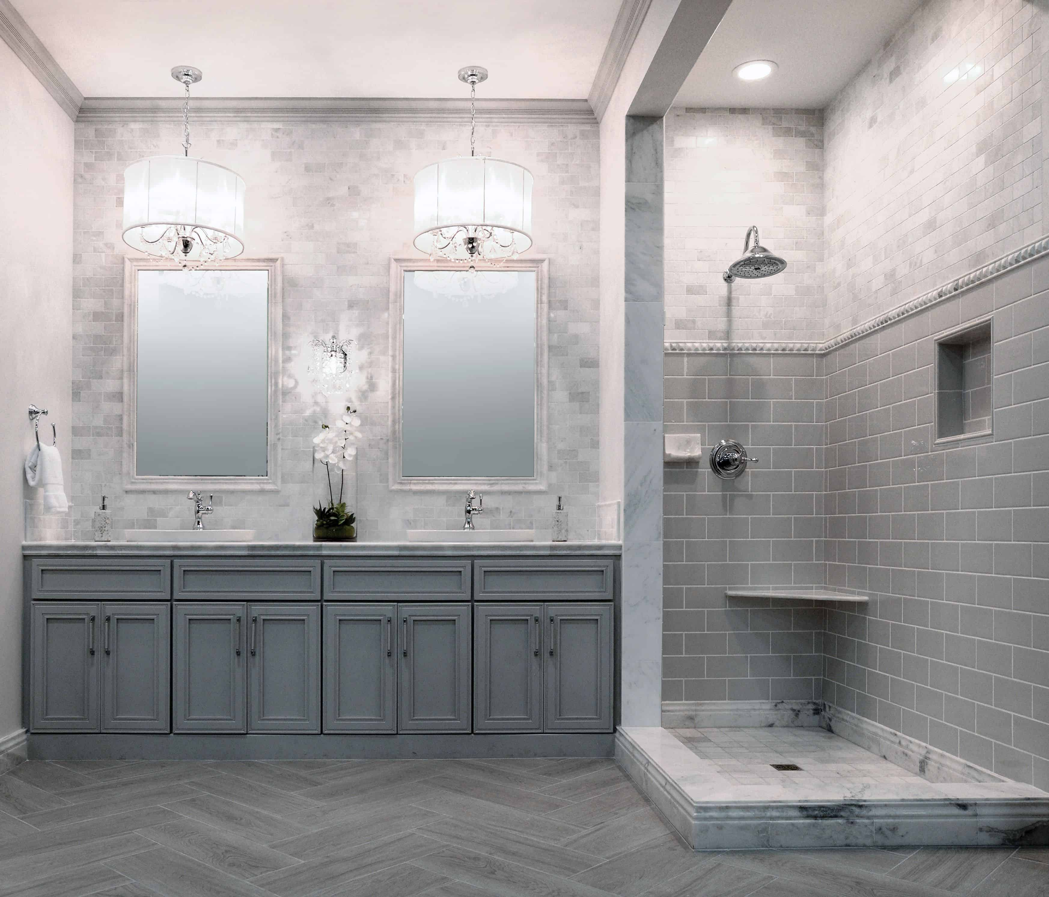 chandelier in a gray bathroom