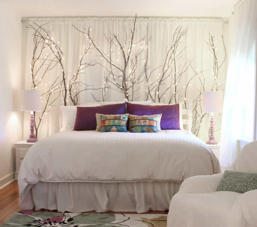 curtains and headboard