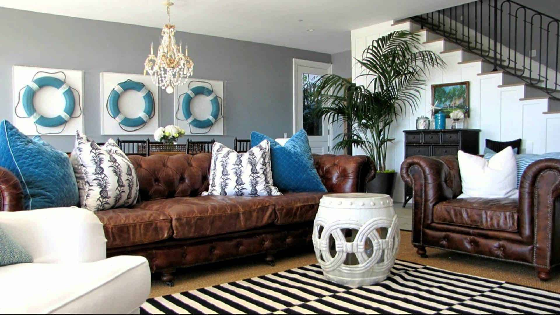 Home Design Ideas Working Round A Brown Leather Sofa
