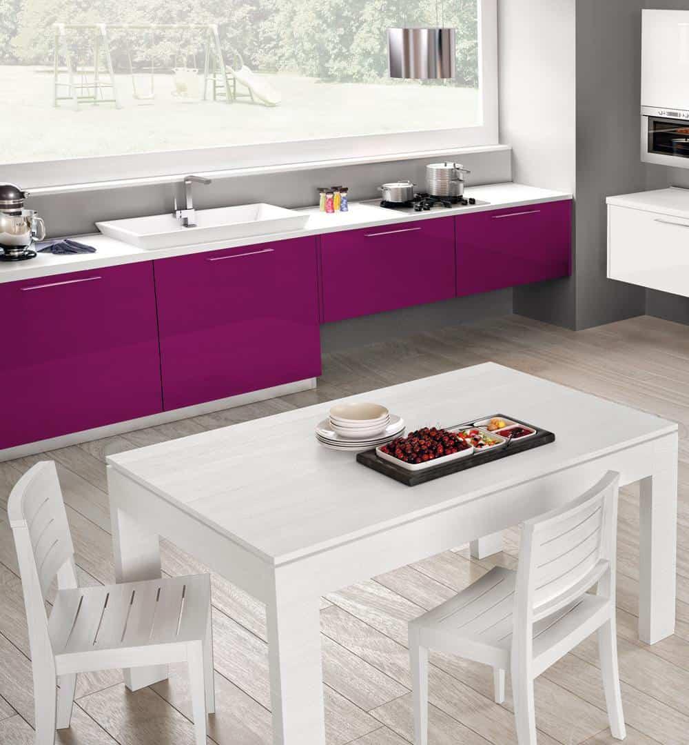 glosssy purple cabinets