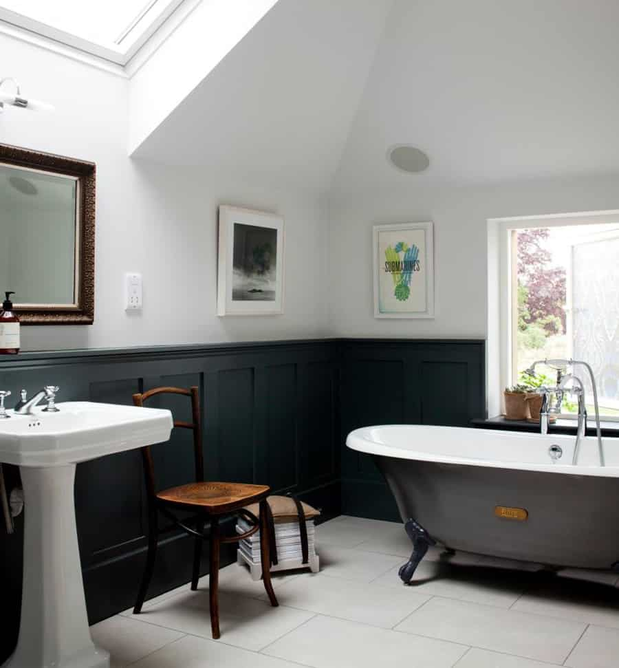grey standalone tub