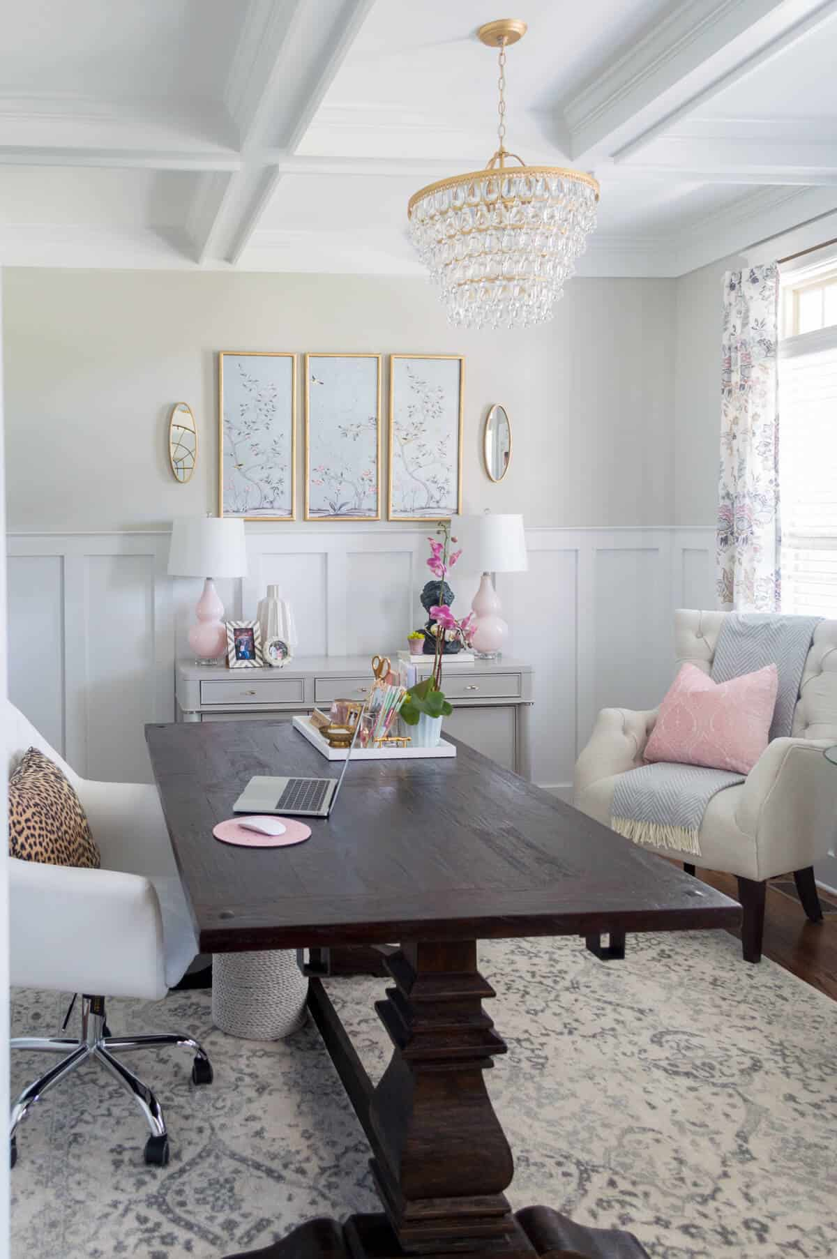 home office with lavender