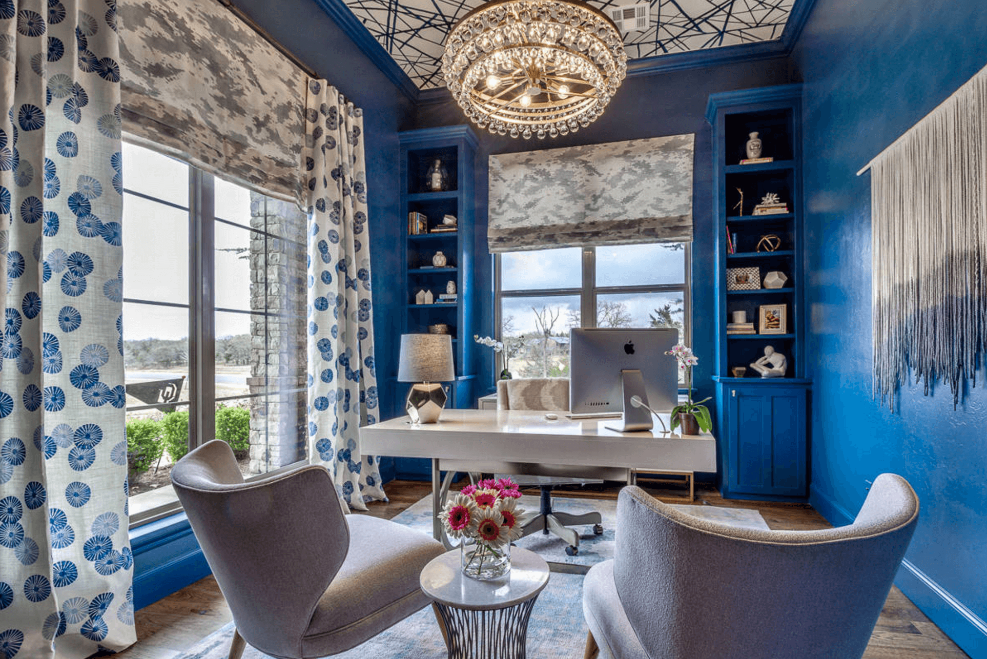 home office with shades of blue
