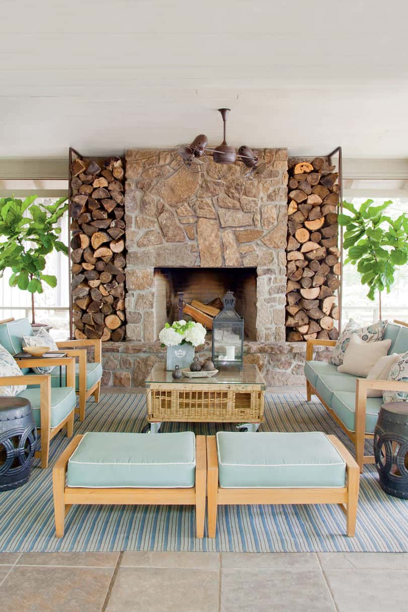 outdoor fireplace with