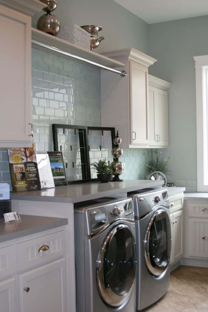 sky blue laundry room Chic Small Laundry Room Ideas You Need To See