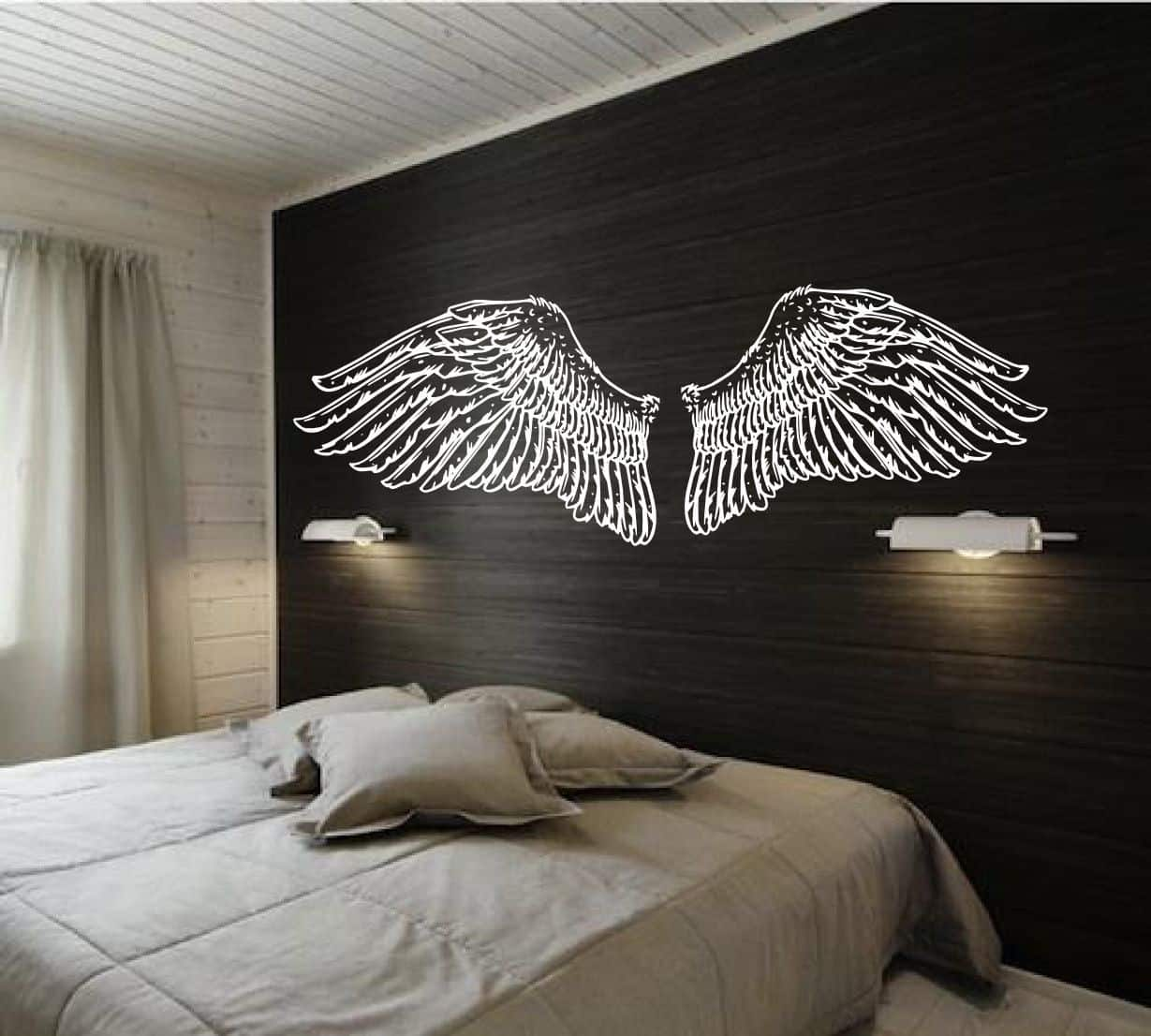 Hand Drawn Angel Wings for Headboard Vintage Inspired doodle Design of wall art bedroom