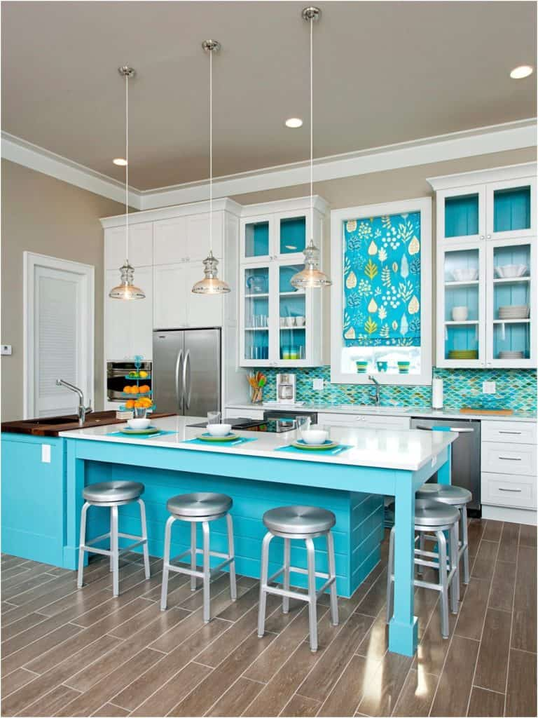aqua green kitchen