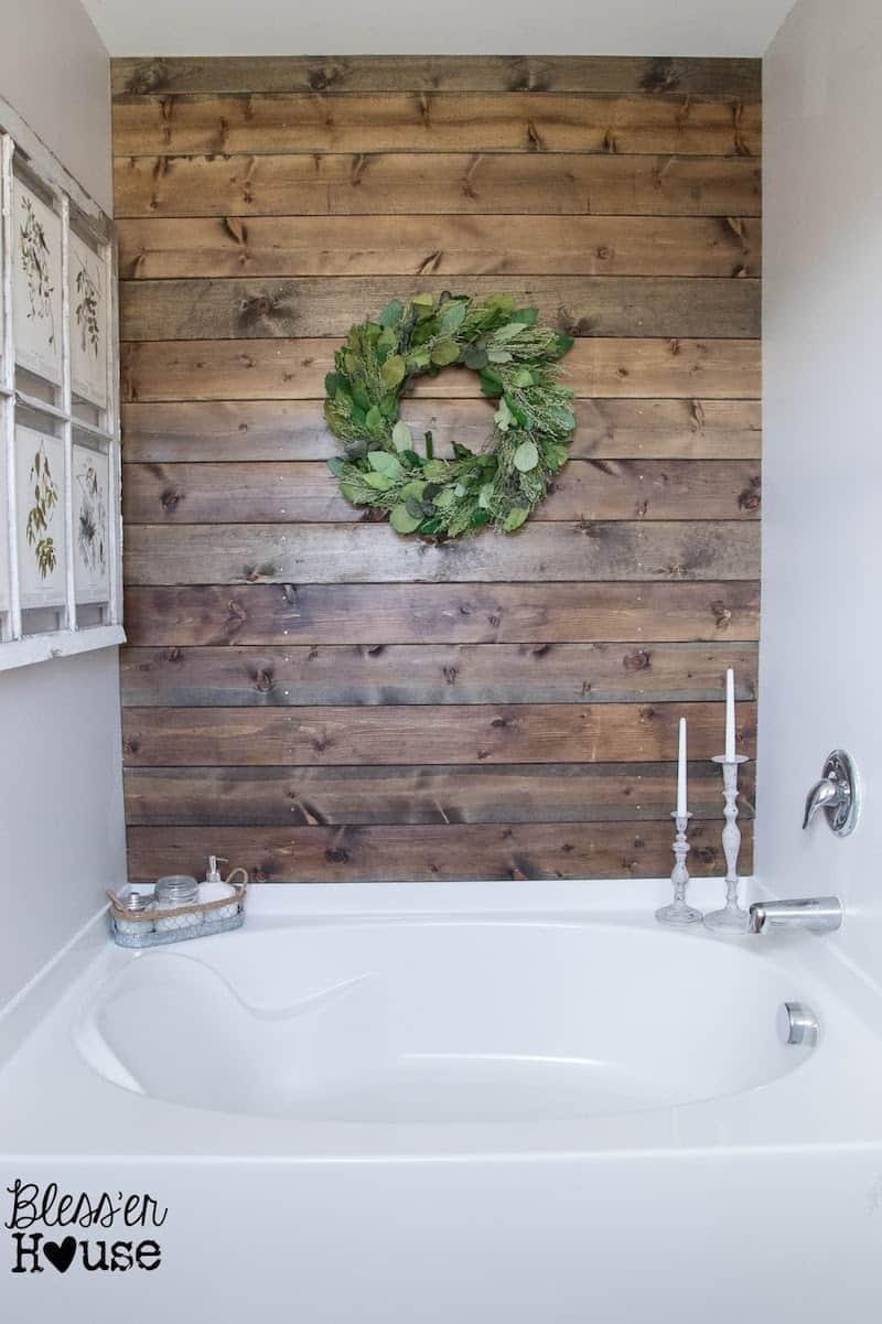 bathroom planked wall