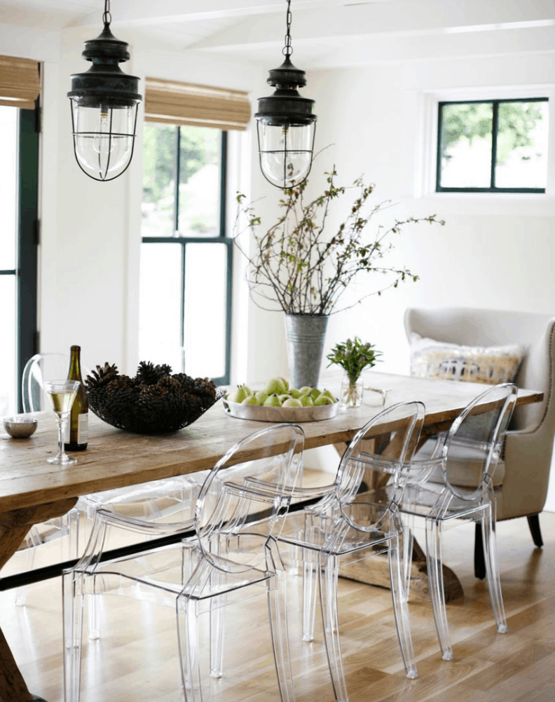 clear seating with wood table Light And Airy Spaces Without Using Mainly Shades Of White