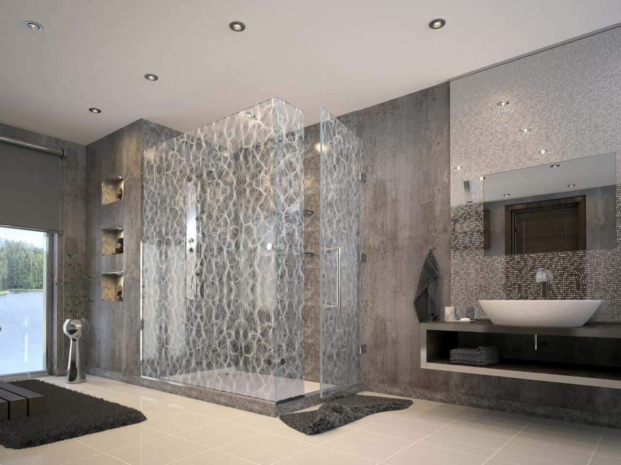 clear stand alone shower