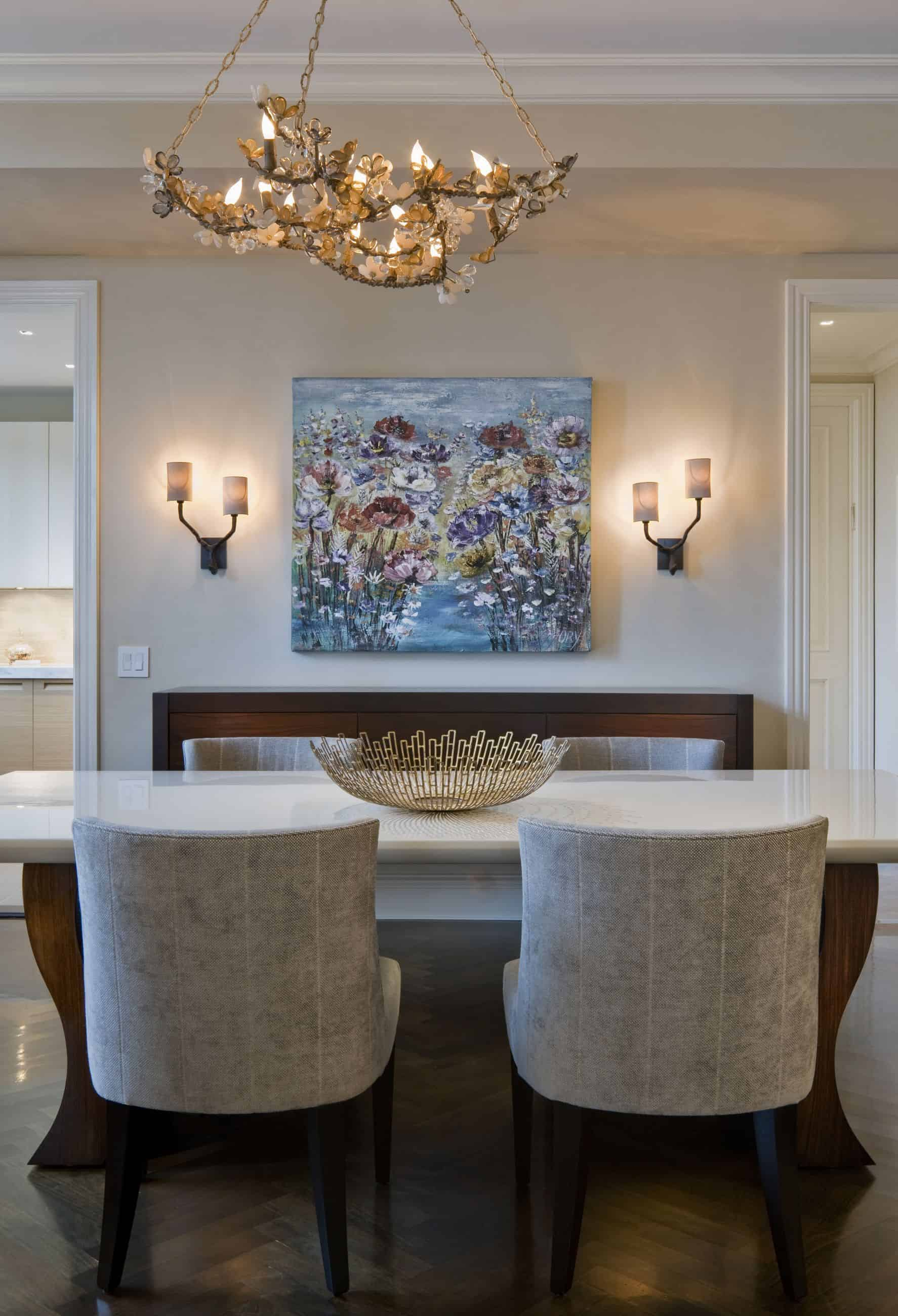 dining room with sconces