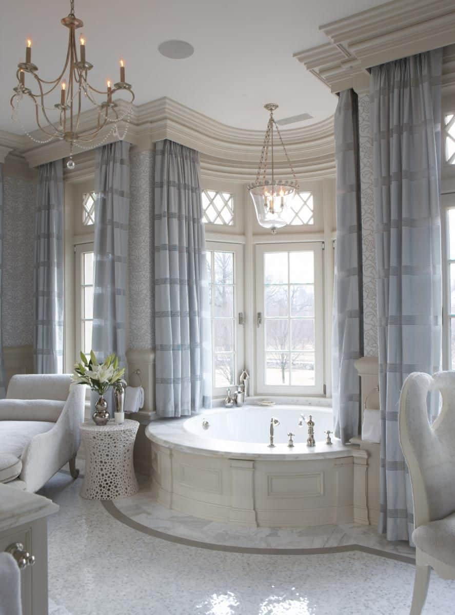 dreamy drapes in the bathroom