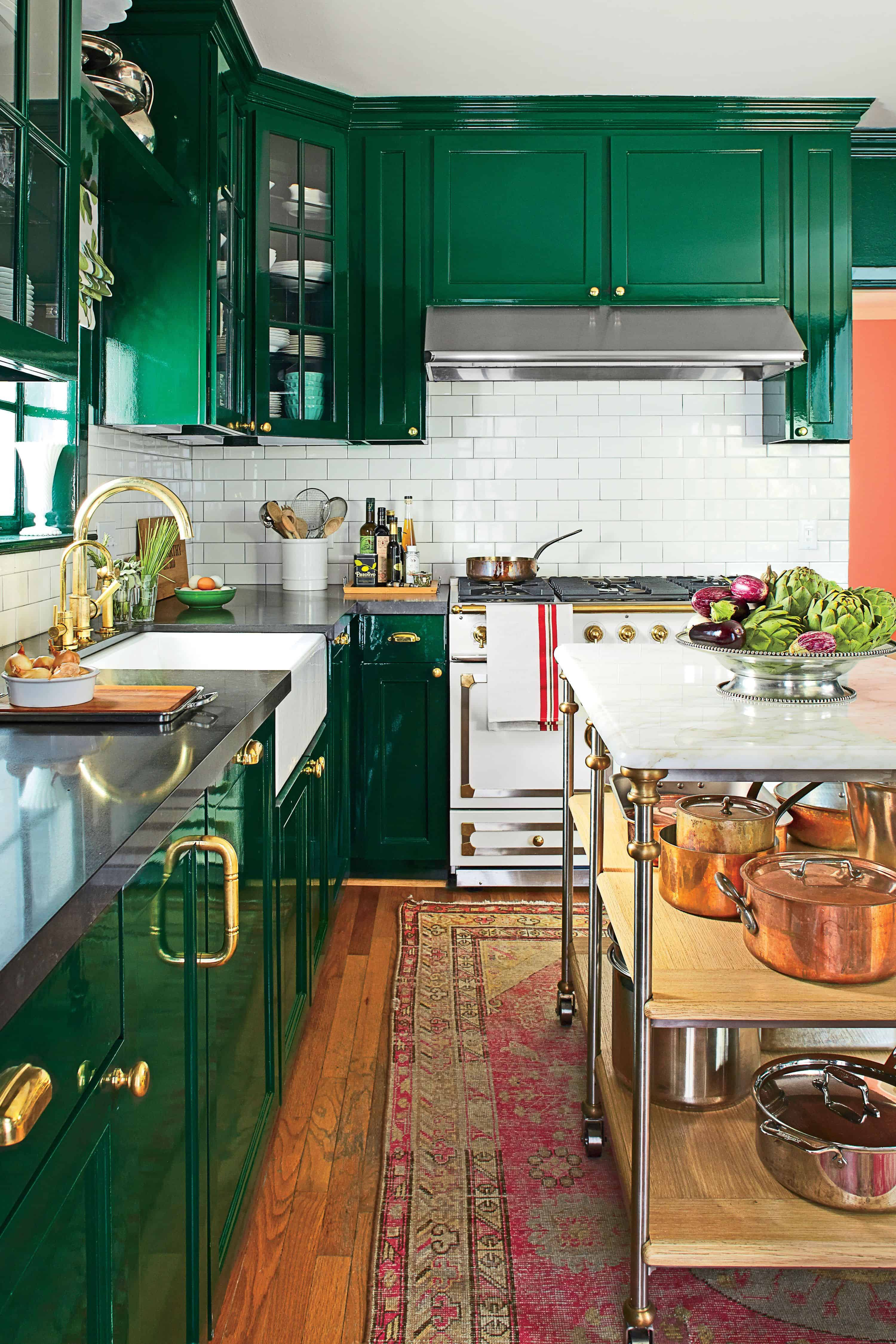 green gloss kitchen