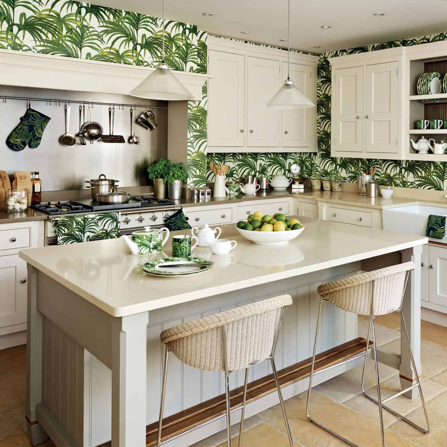 green kitchen wallpaper
