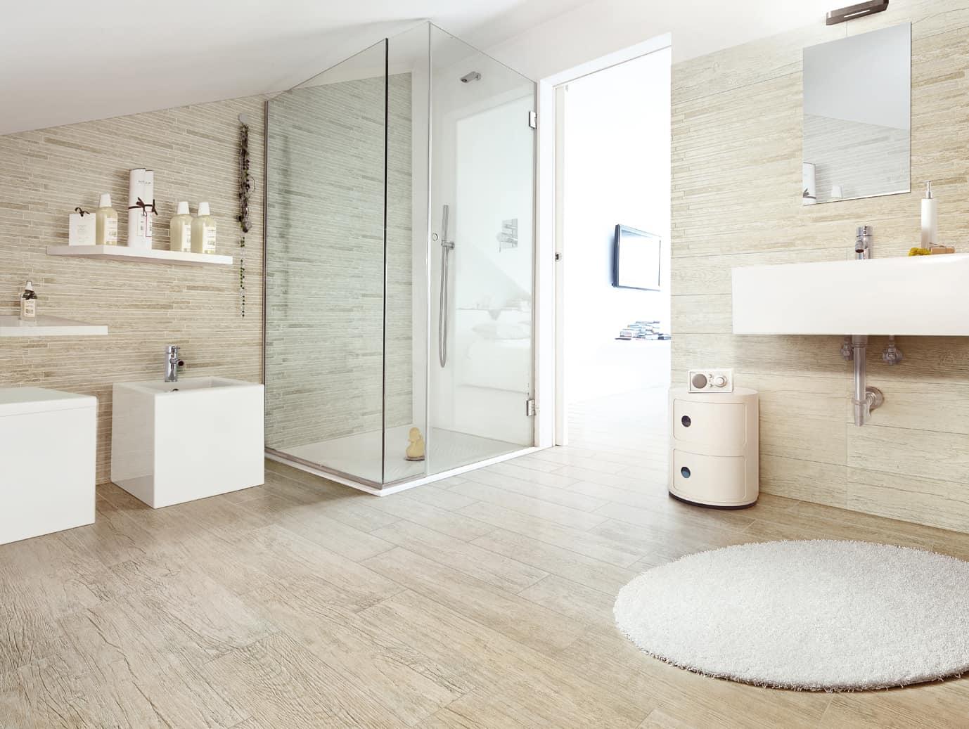light wood tile bathroom