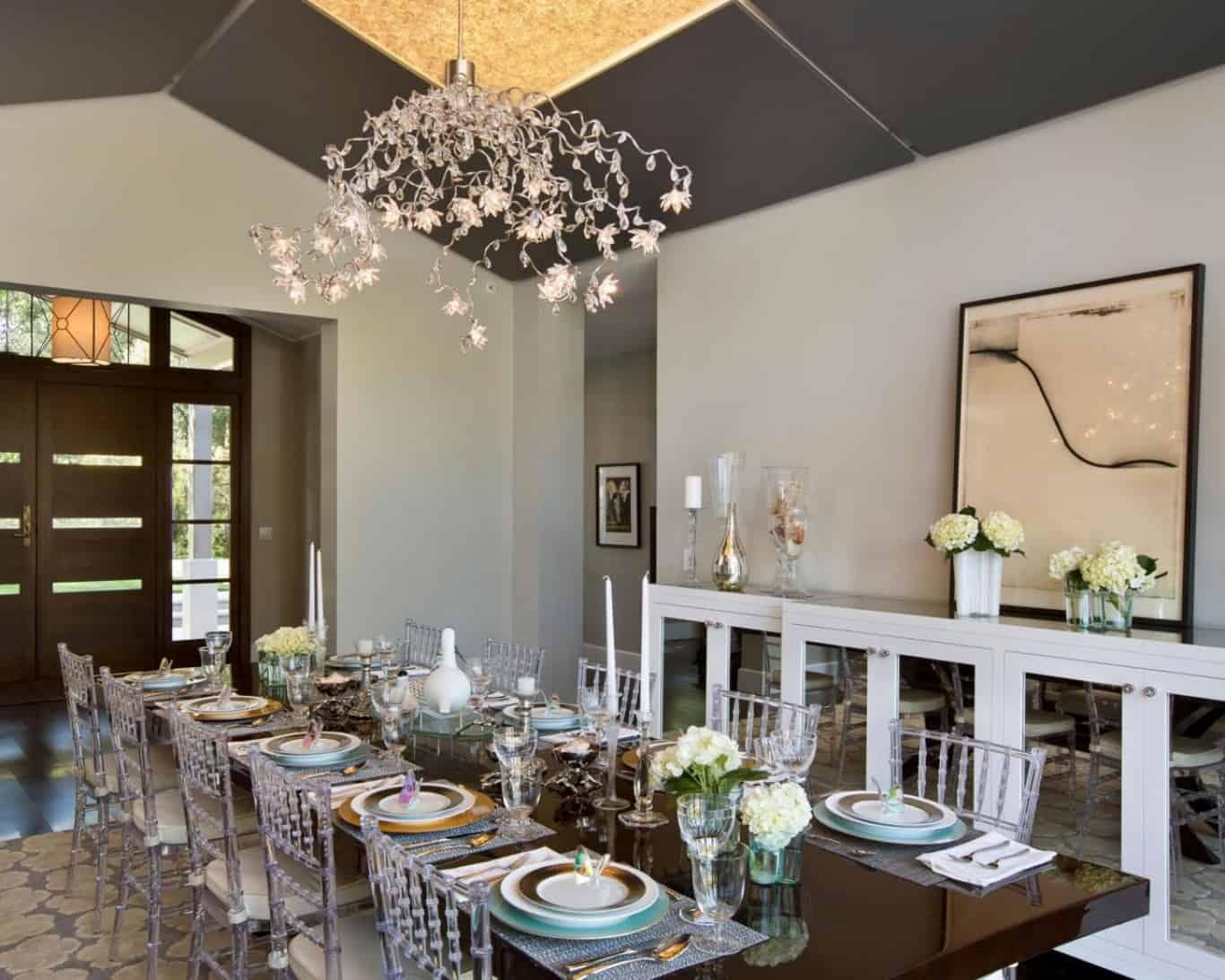 mini chandelier in dining room
