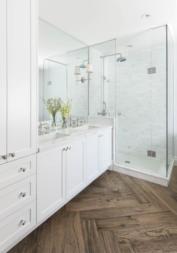 modern wood tile bathroom