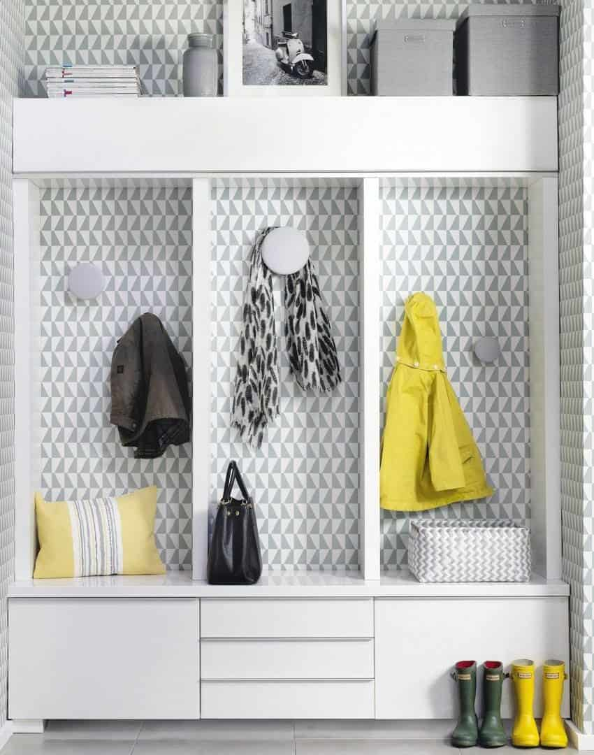 sleek and modern mudroom