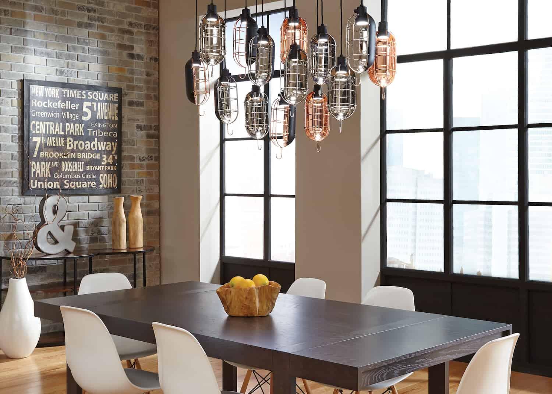 unique light fixture in dining room