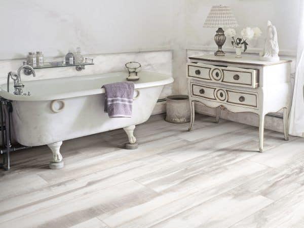 white washed vintage wood tile bathroom