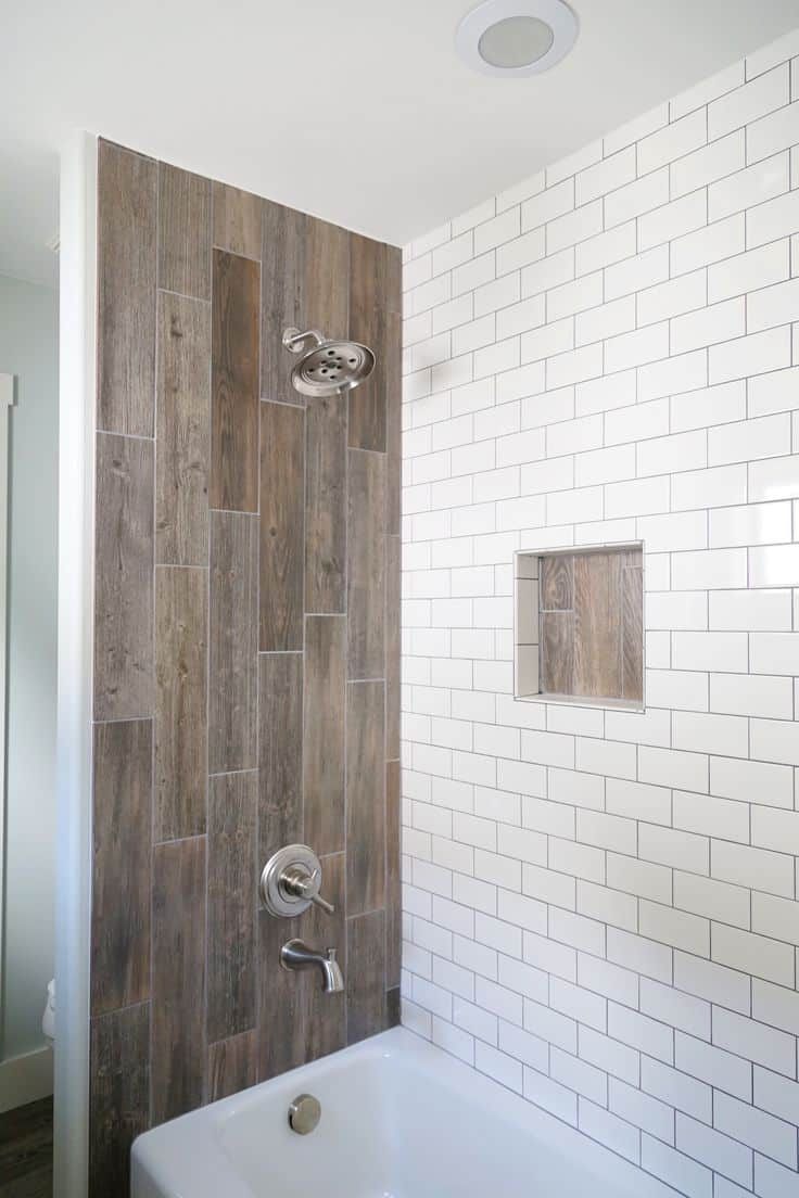 wood and subway tile shower