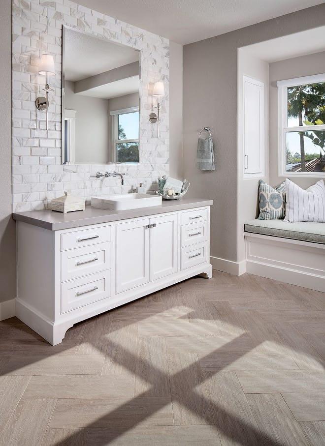 wood grain tile herrigbone bathroom