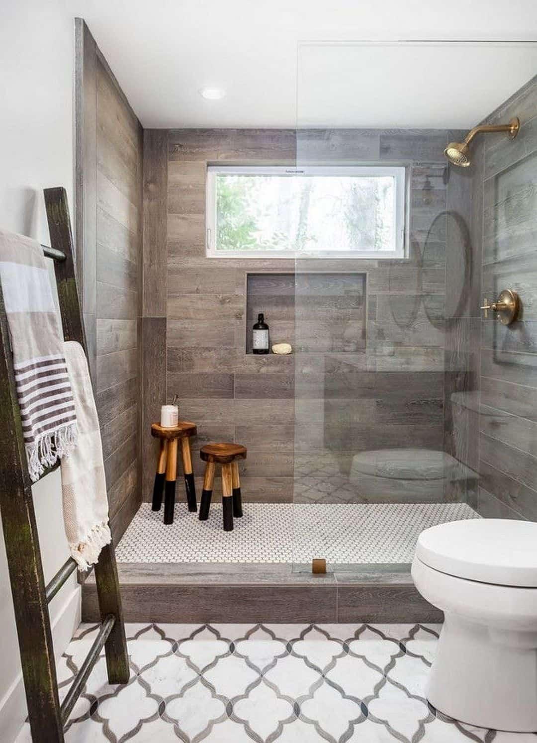 wood tile and trellis bathroom