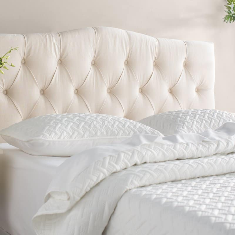 ClevelandUpholsteredPanelHeadboard 15 White Headboards To Transform Your Bedroom With