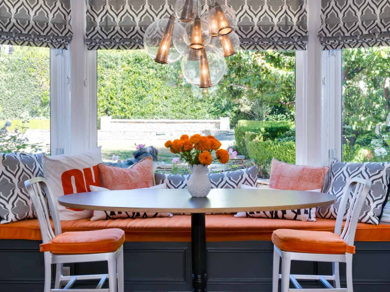 Colorful banquette table